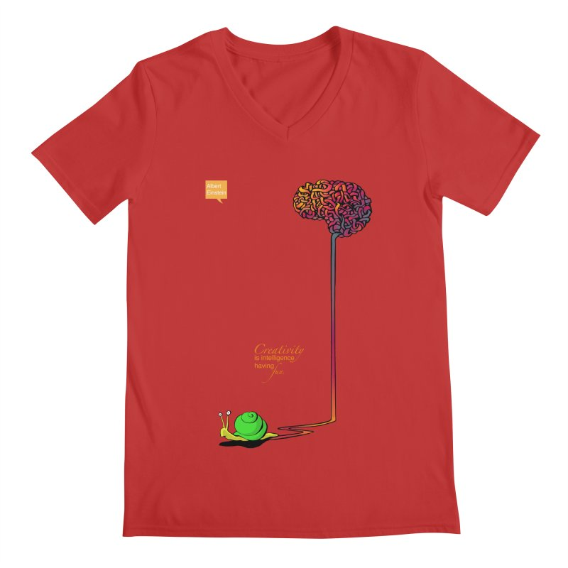 Creativity is Intelligence having fun Men's V-Neck by filsoofdesigns's Artist Shop