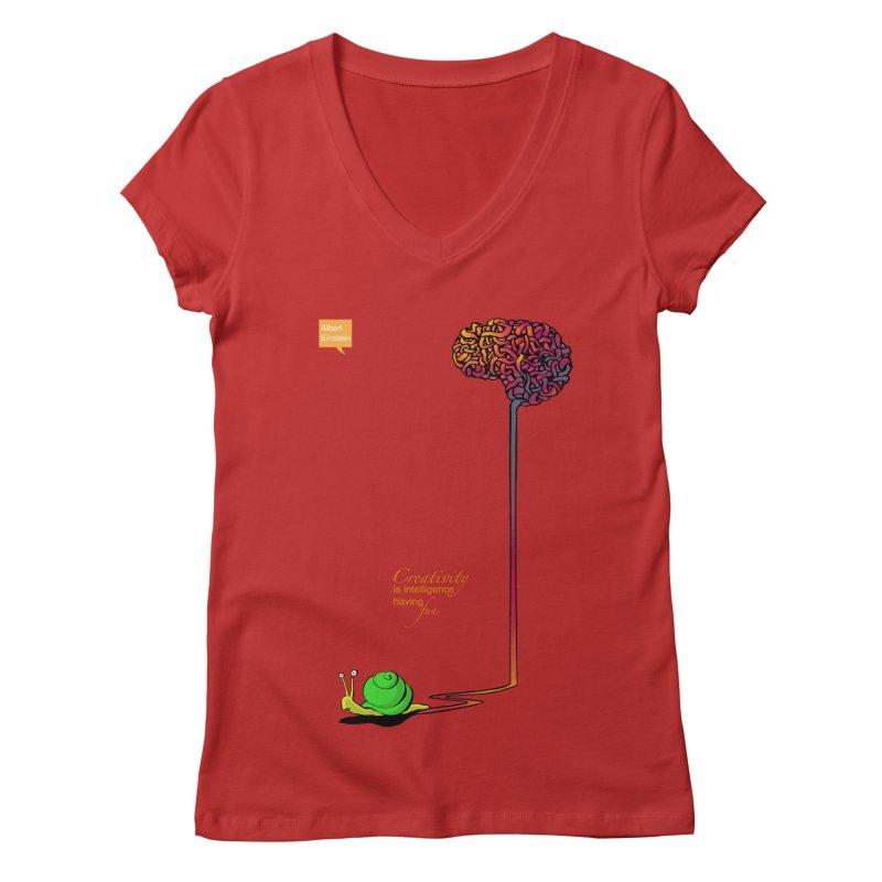 Creativity is Intelligence having fun Women's V-Neck by filsoofdesigns's Artist Shop