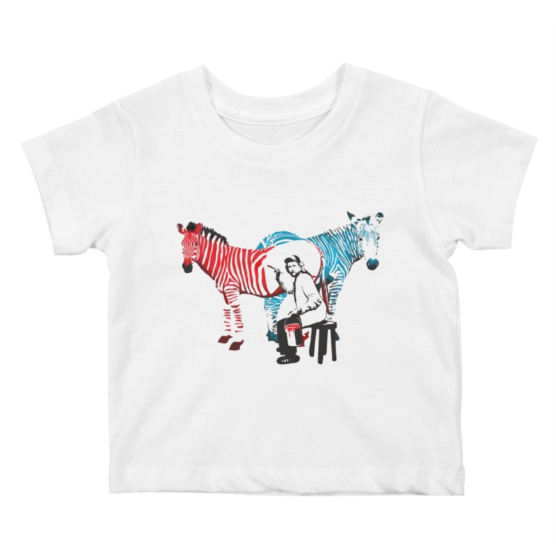 Rembrandt the zebra painter Kids Baby T-Shirt by filsoofdesigns's Artist Shop