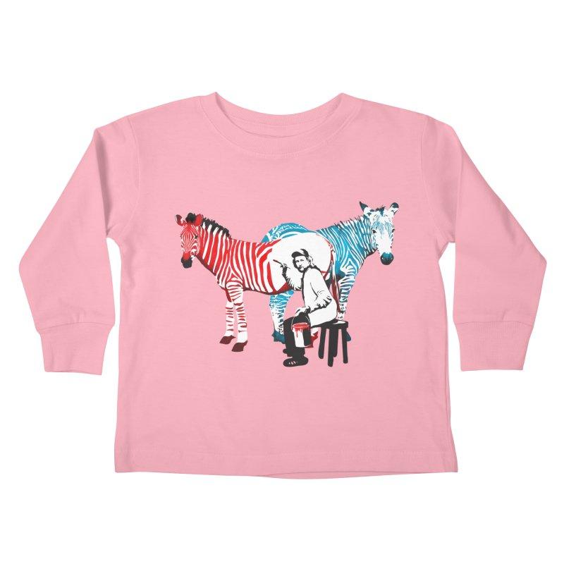 Rembrandt the zebra painter Kids Toddler Longsleeve T-Shirt by filsoofdesigns's Artist Shop