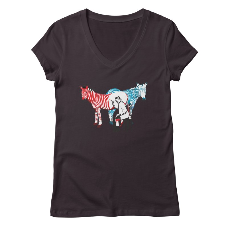 Rembrandt the zebra painter Women's V-Neck by filsoofdesigns's Artist Shop