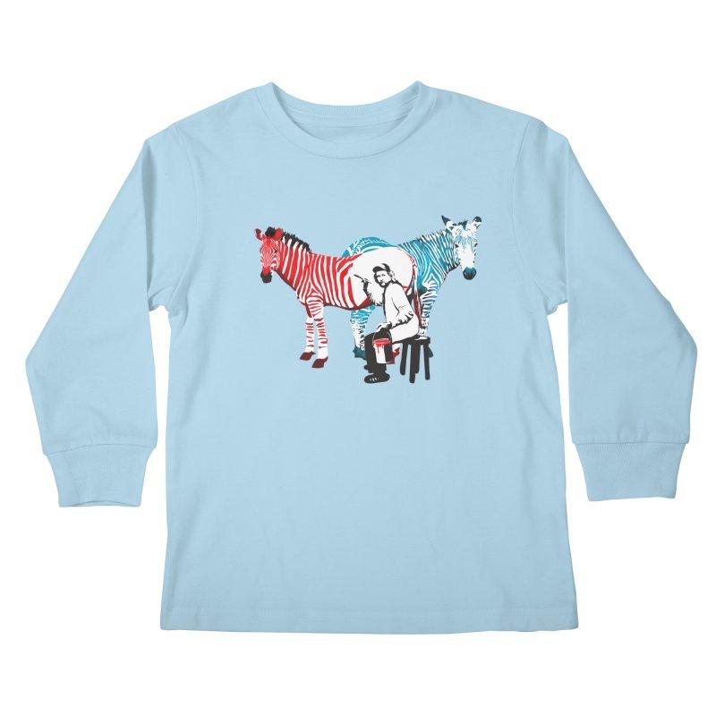 Rembrandt the zebra painter Kids Longsleeve T-Shirt by filsoofdesigns's Artist Shop
