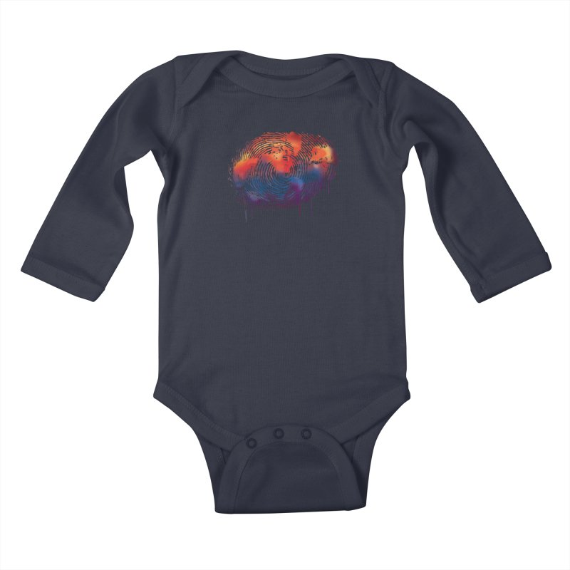 Global Fingerprint Kids Baby Longsleeve Bodysuit by filsoofdesigns's Artist Shop