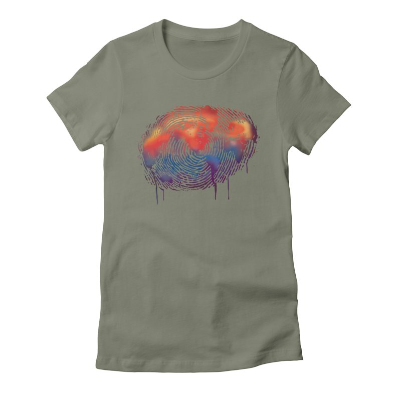 Global Fingerprint Women's Fitted T-Shirt by filsoofdesigns's Artist Shop