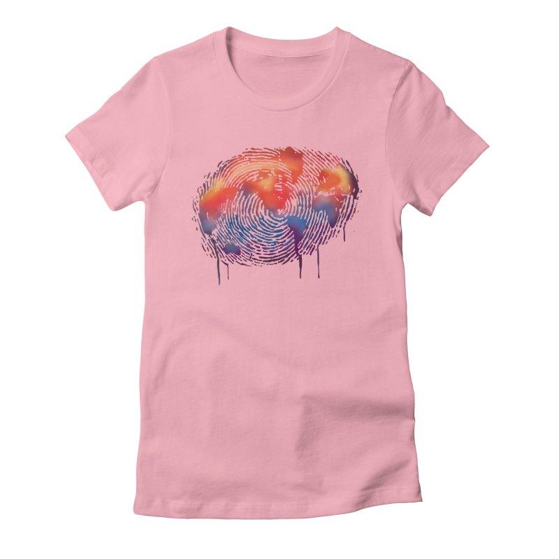 Global Fingerprint Women's Fitted T-Shirt by filsoofdesigns's Artist Shop