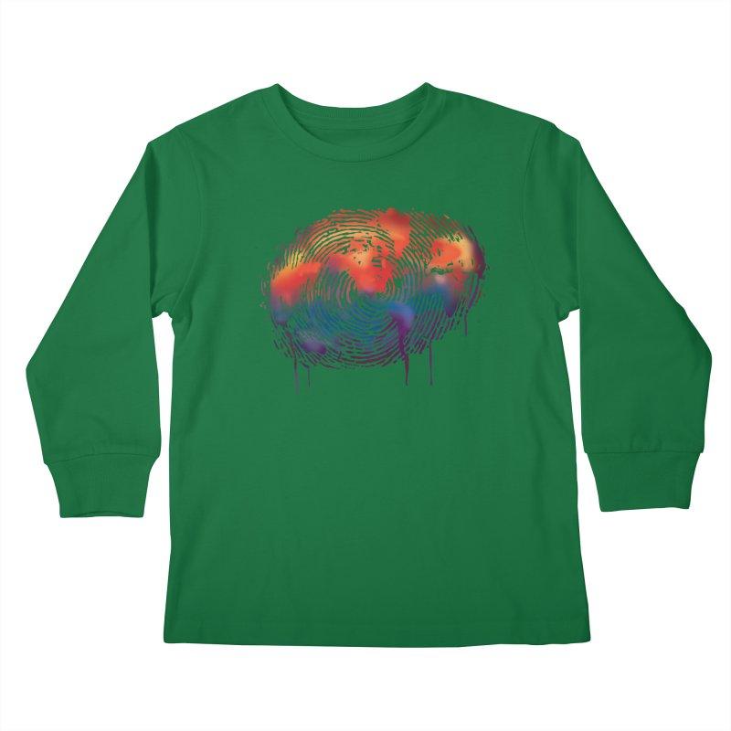 Global Fingerprint Kids Longsleeve T-Shirt by filsoofdesigns's Artist Shop