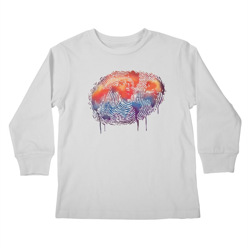 Global Fingerprint Kids Longsleeve T-Shirt by filsoofdesigns's Artist Shop