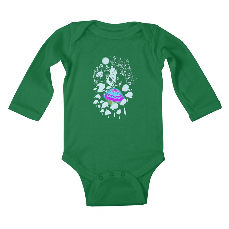 Alice in Fungi-land Kids Baby Longsleeve Bodysuit by filsoofdesigns's Artist Shop