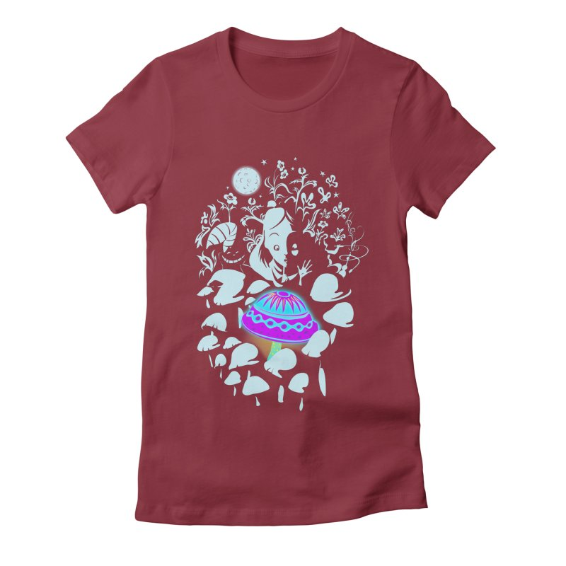 Alice in Fungi-land Women's Fitted T-Shirt by filsoofdesigns's Artist Shop