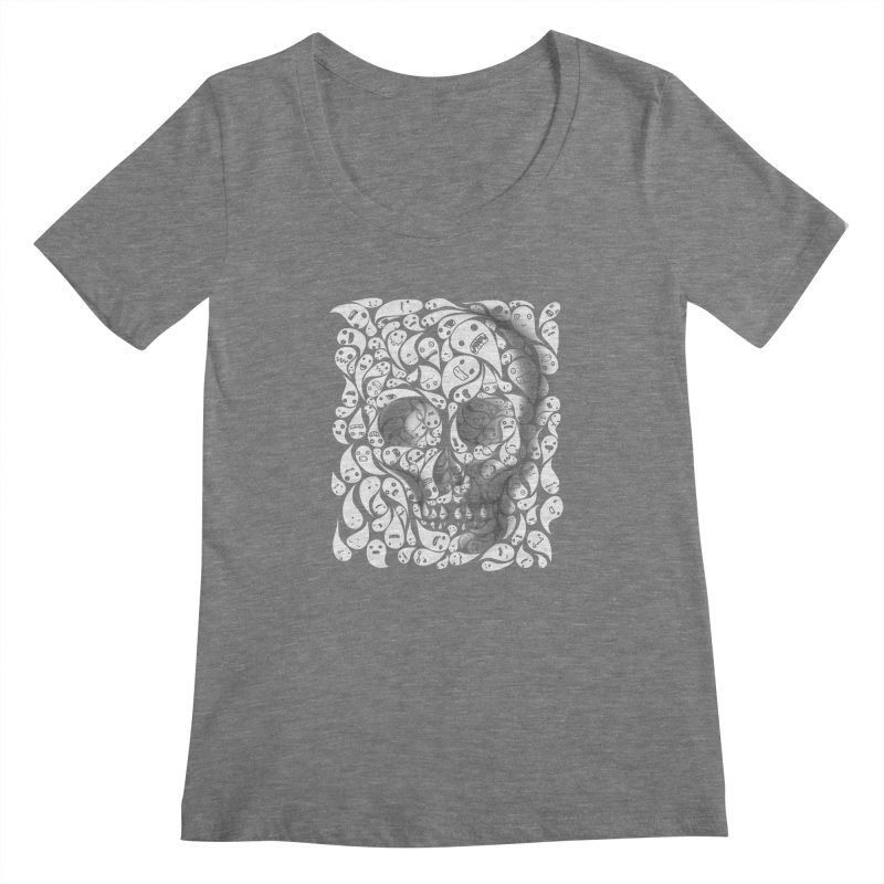 skull doodles Women's Scoopneck by filsoofdesigns's Artist Shop