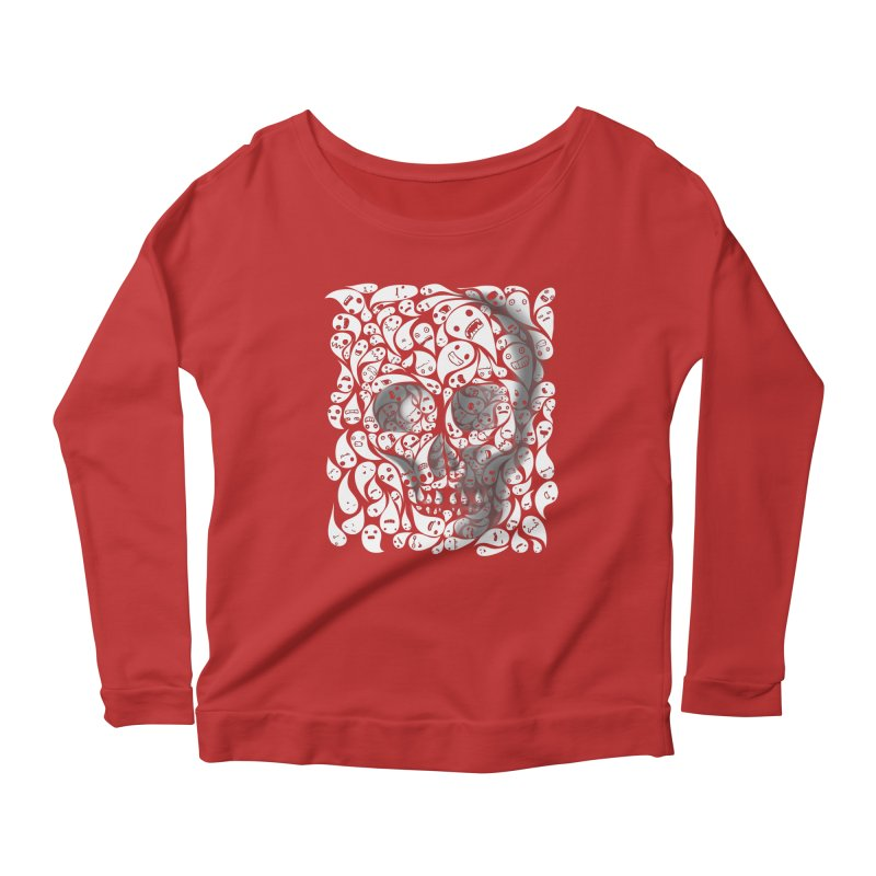 skull doodles Women's Longsleeve Scoopneck  by filsoofdesigns's Artist Shop