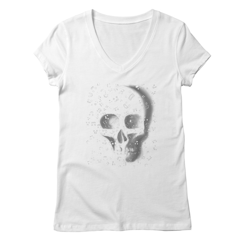 skull doodles Women's V-Neck by filsoofdesigns's Artist Shop