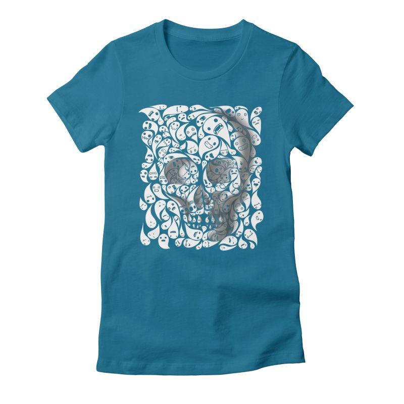 skull doodles Women's Fitted T-Shirt by filsoofdesigns's Artist Shop