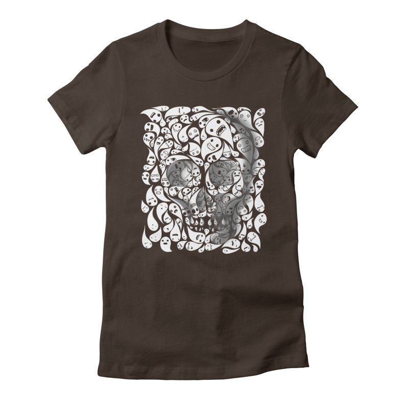 skull doodles Women's Fitted T-Shirt by filsoofdesigns's Artist Shop