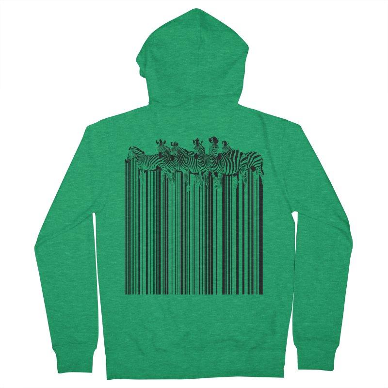 zebra barcode Men's Zip-Up Hoody by filsoofdesigns's Artist Shop