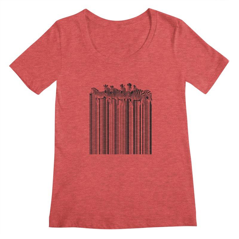 zebra barcode Women's Scoopneck by filsoofdesigns's Artist Shop