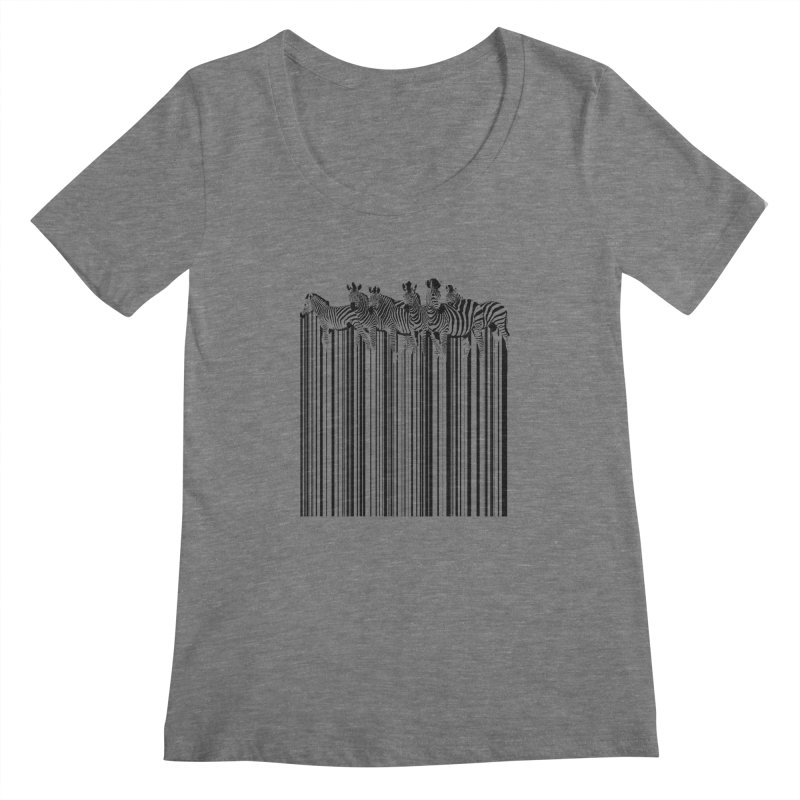 zebra barcode Women's Scoopneck by filsoofdesigns's Artist Shop