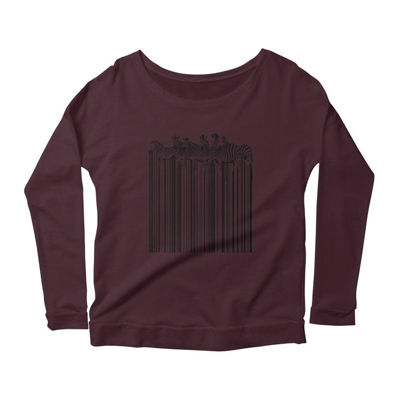 zebra barcode Women's Longsleeve Scoopneck  by filsoofdesigns's Artist Shop