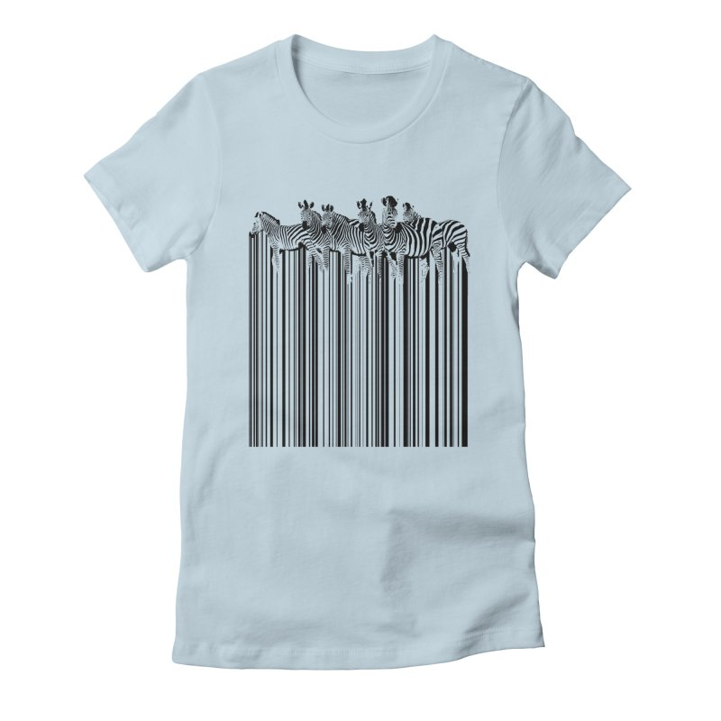 zebra barcode Women's Fitted T-Shirt by filsoofdesigns's Artist Shop