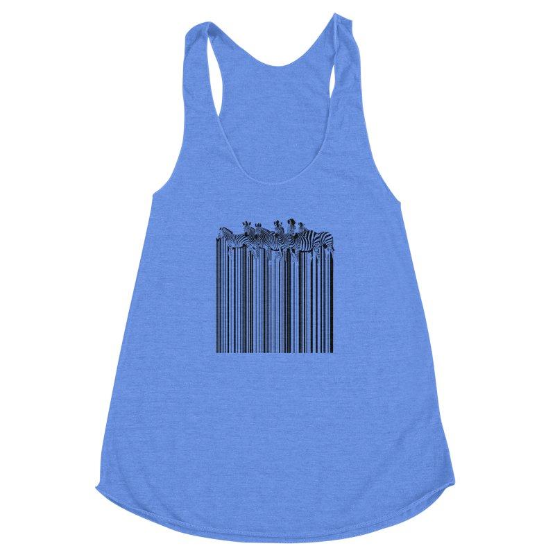 zebra barcode Women's Racerback Triblend Tank by filsoofdesigns's Artist Shop