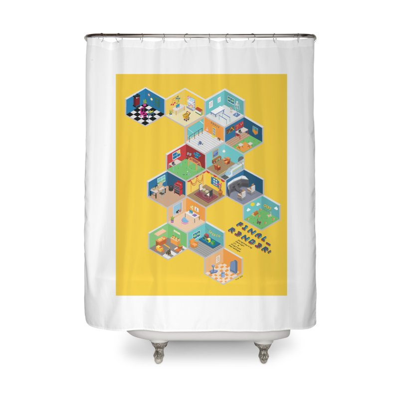 Isometric Rooms Home Shower Curtain by FinalRender Shop