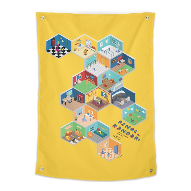 Isometric Rooms Home Tapestry by FinalRender Shop