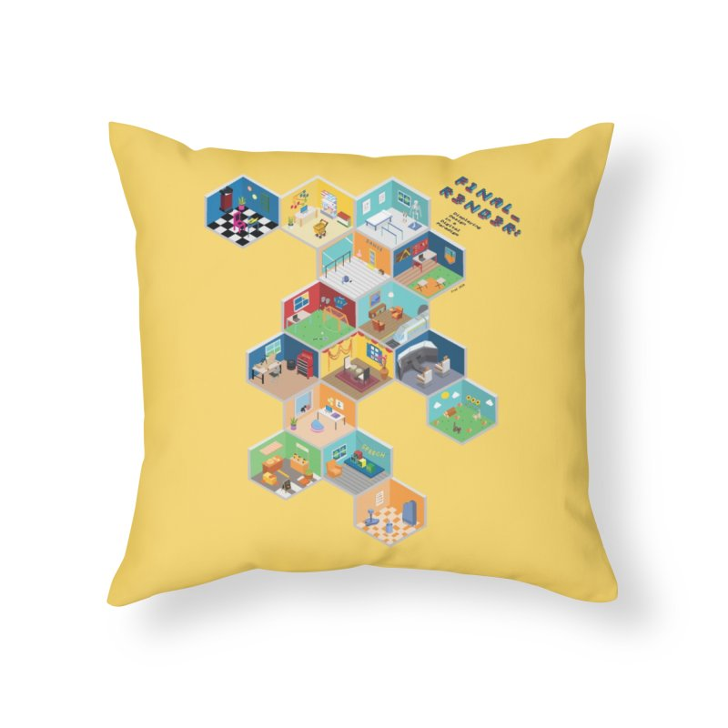 Isometric Rooms Home Throw Pillow by FinalRender Shop