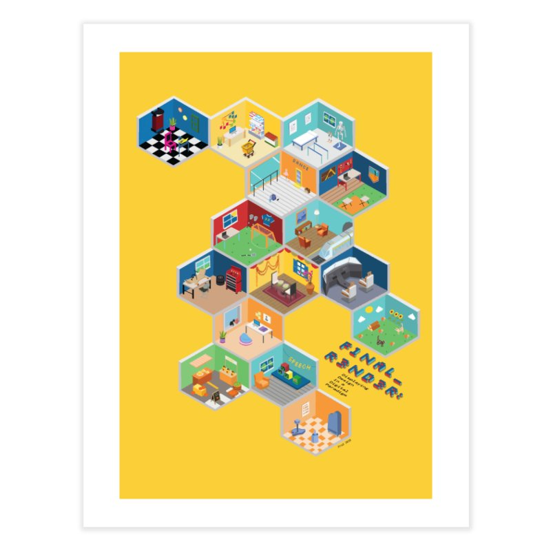 Isometric Rooms Home Fine Art Print by FinalRender Shop