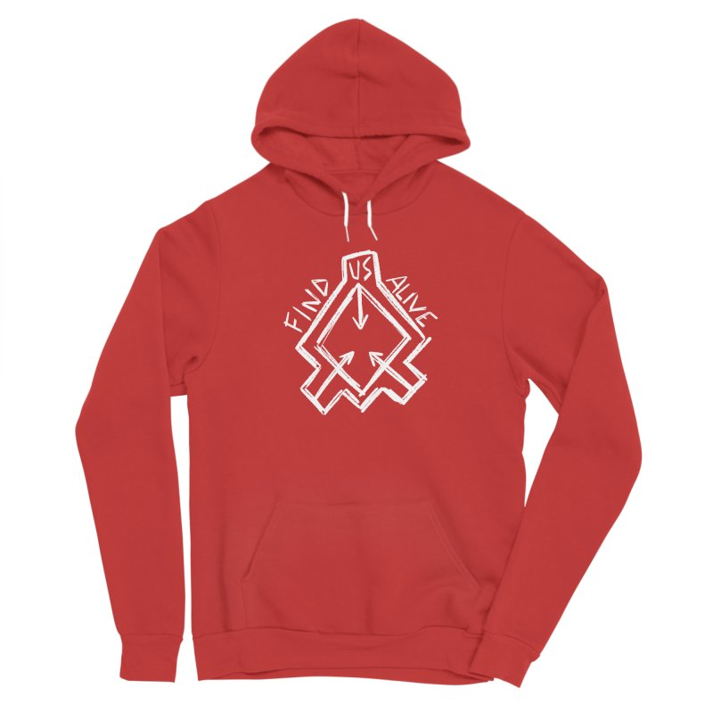 Sketchy Logo White Men's Pullover Hoody by Find Us Alive Official Merch