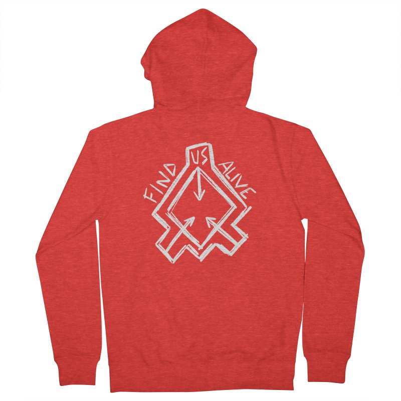 Sketchy Logo White Women's Zip-Up Hoody by Find Us Alive Official Merch