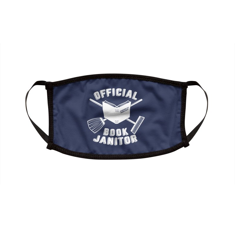 Official Book Janitor (White) Accessories Face Mask by Finish It! Podcast Merchzone