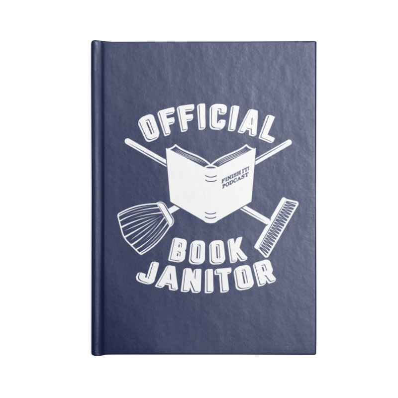 Official Book Janitor (White) Accessories Lined Journal Notebook by Finish It! Podcast Merchzone