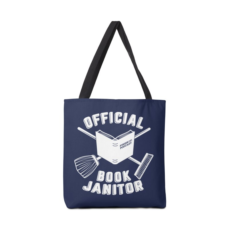 Official Book Janitor (White) Accessories Tote Bag Bag by Finish It! Podcast Merchzone