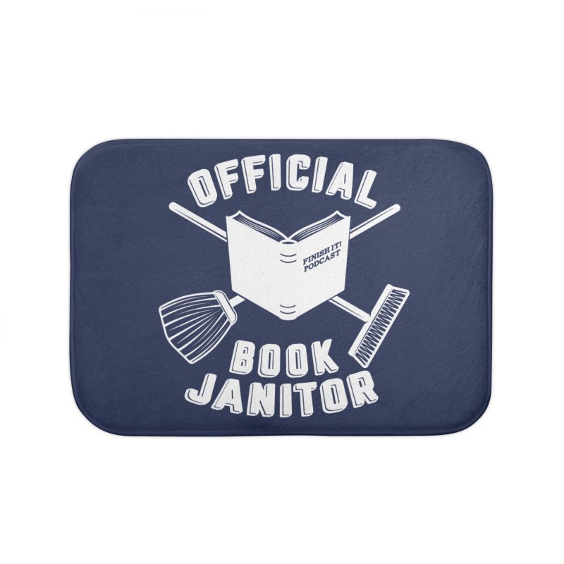 Official Book Janitor (White) Home Bath Mat by Finish It! Podcast Merchzone