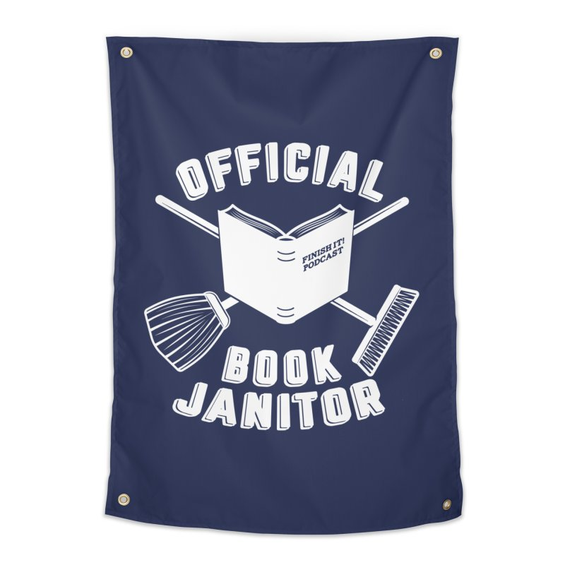 Official Book Janitor (White) Home Tapestry by Finish It! Podcast Merchzone