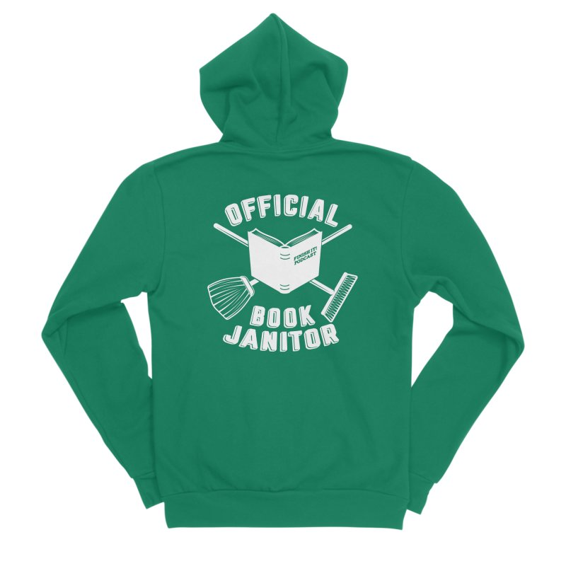 Official Book Janitor (White) Men's Sponge Fleece Zip-Up Hoody by Finish It! Podcast Merchzone