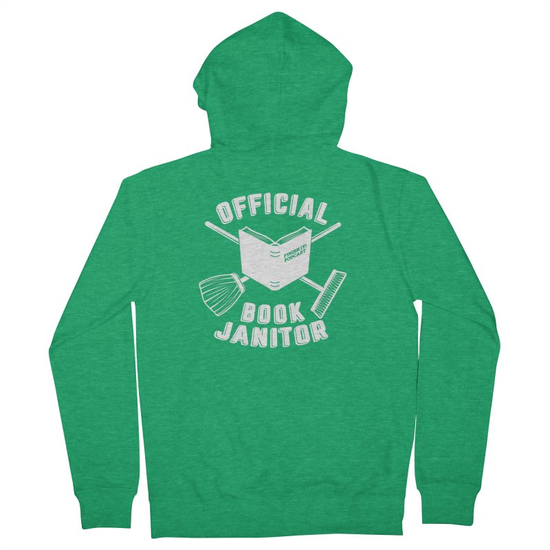 Official Book Janitor (White) Men's Zip-Up Hoody by Finish It! Podcast Merchzone