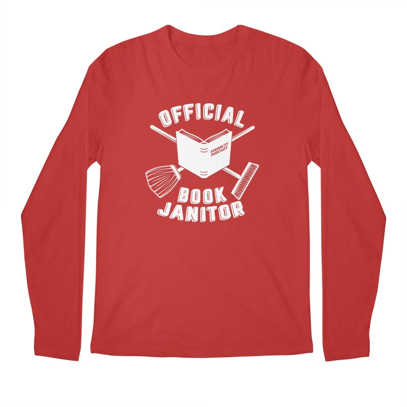 Official Book Janitor (White) Men's Regular Longsleeve T-Shirt by Finish It! Podcast Merchzone