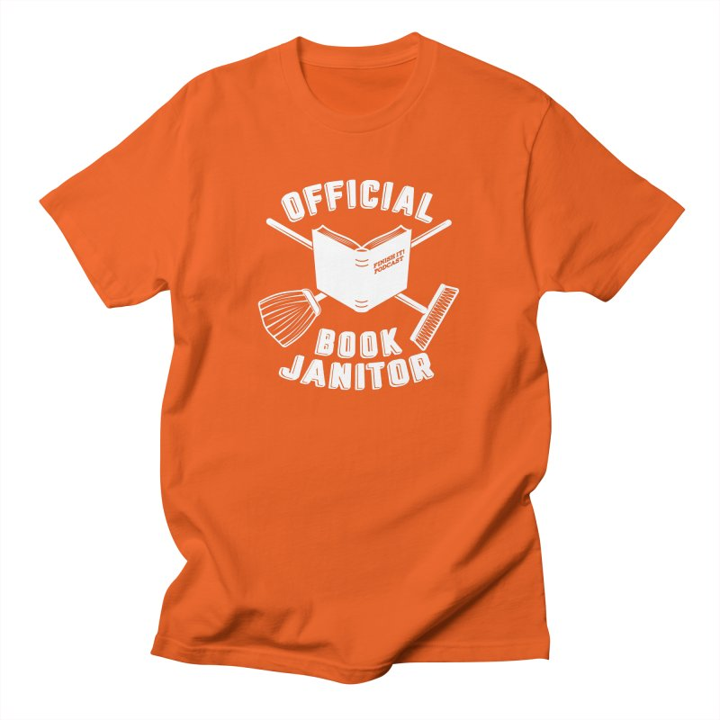Official Book Janitor (White) Men's Regular T-Shirt by Finish It! Podcast Merchzone