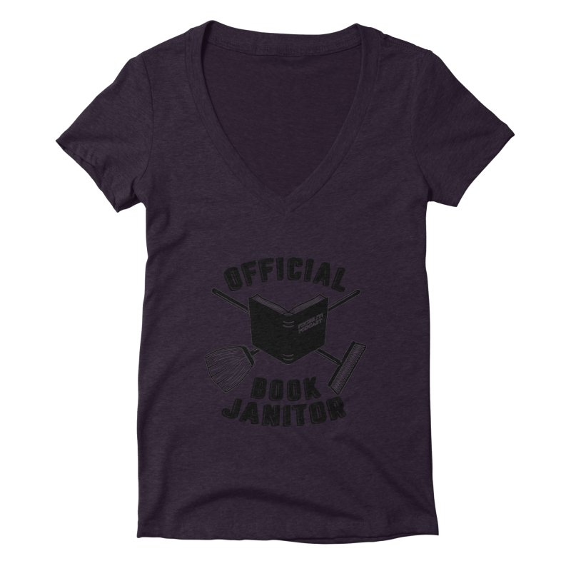 Official Book Janitor (Black) Women's Deep V-Neck V-Neck by Finish It! Podcast Merchzone