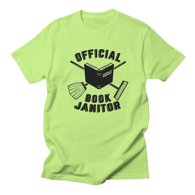 Official Book Janitor (Black) Men's Regular T-Shirt by Finish It! Podcast Merchzone