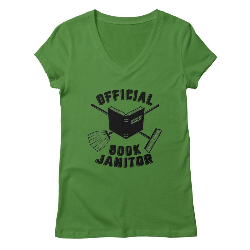 Official Book Janitor (Black) Women's Regular V-Neck by Finish It! Podcast Merchzone
