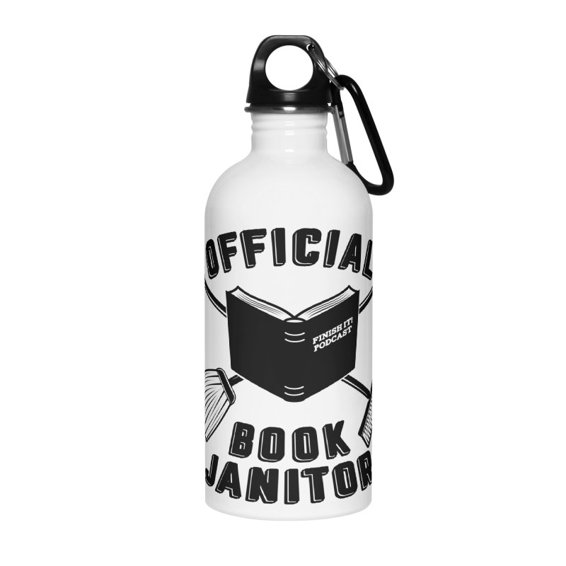Official Book Janitor (Black) Accessories Water Bottle by Finish It! Podcast Merchzone