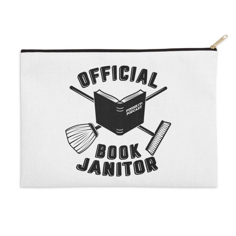 Official Book Janitor (Black) Accessories Zip Pouch by Finish It! Podcast Merchzone
