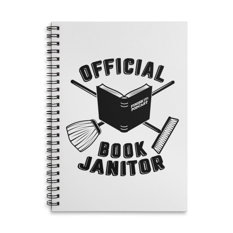 Official Book Janitor (Black) Accessories Lined Spiral Notebook by Finish It! Podcast Merchzone