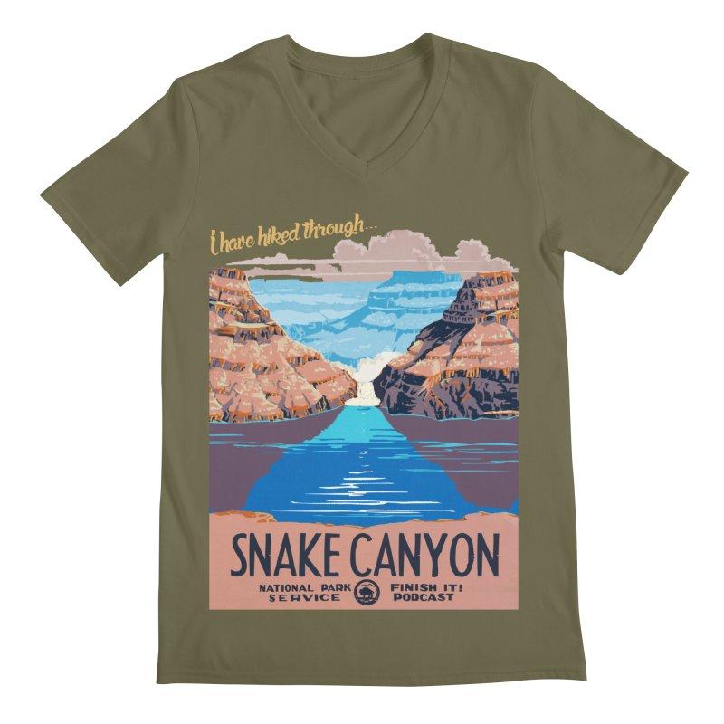 Snake Canyon Hourglass Men's Regular V-Neck by Finish It! Podcast Merchzone