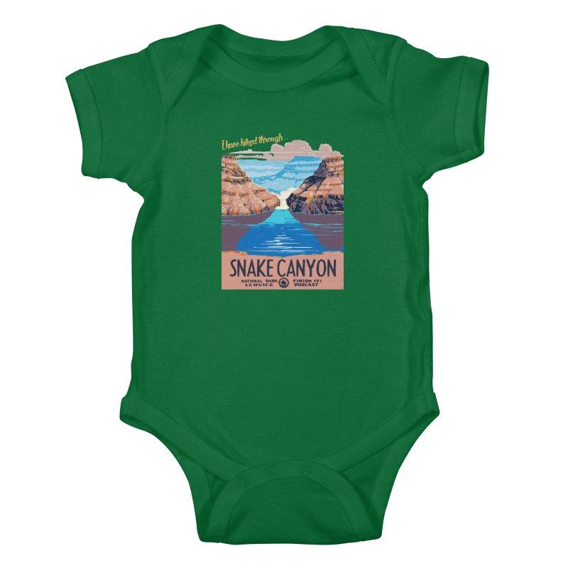 Snake Canyon Hourglass Kids Baby Bodysuit by Finish It! Podcast Merchzone