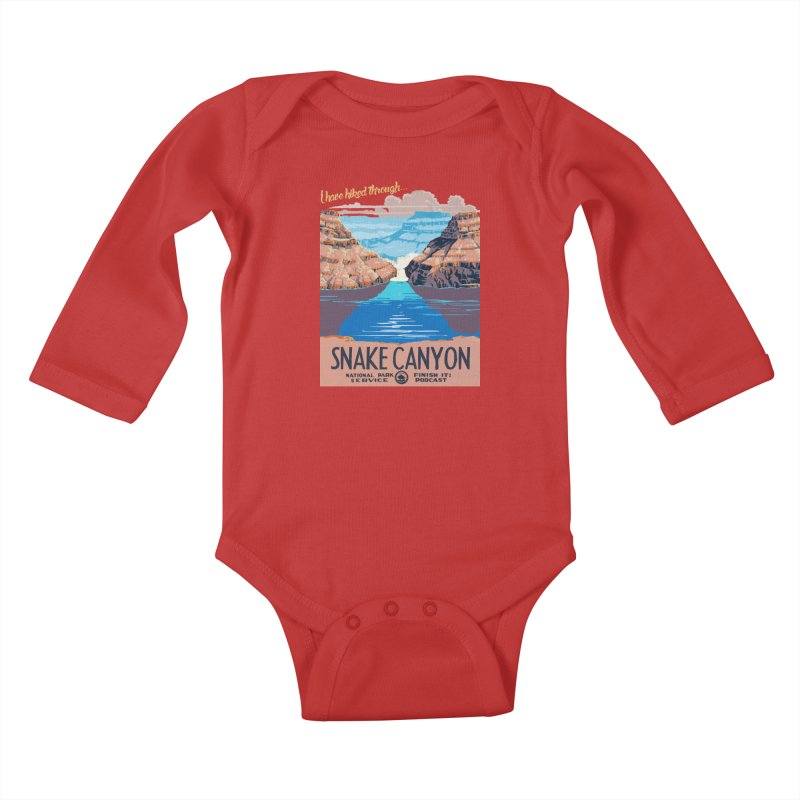 Snake Canyon Hourglass Kids Baby Longsleeve Bodysuit by Finish It! Podcast Merchzone