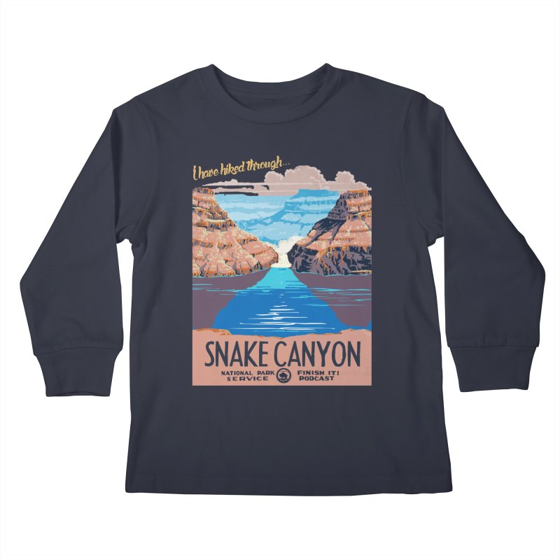 Snake Canyon Hourglass Kids Longsleeve T-Shirt by Finish It! Podcast Merchzone