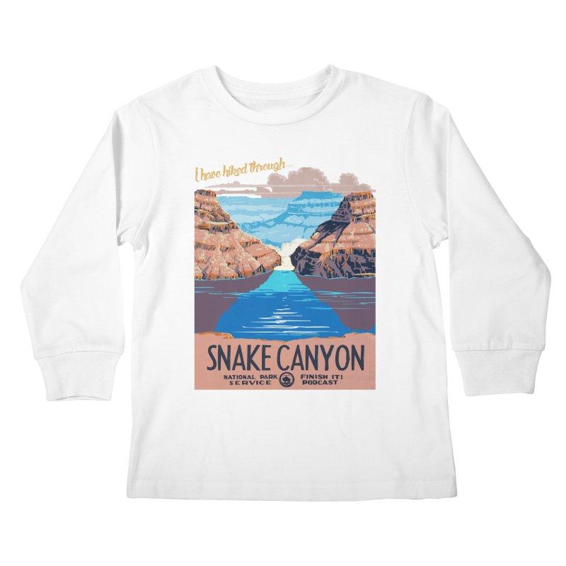 Snake Canyon Hourglass Kids Longsleeve T-Shirt by Finish It! Podcast Merchzone